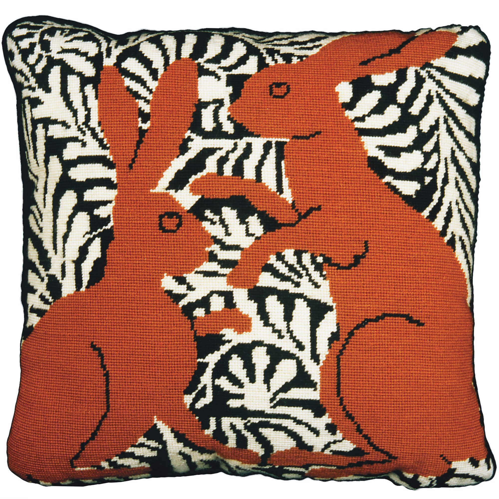 Fine Cell Work De Morgan Boxing Hares Needlepoint Cushion Kit Brown