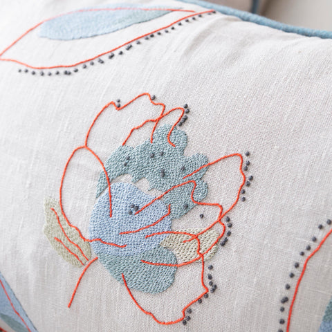 Kit Kemp's Rain Shadow Blue Leaf Large Square Cushion Hand Embroidered Fine Cell Work
