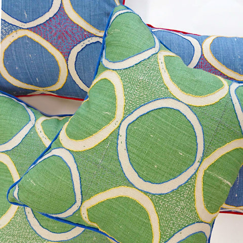 Fine Cell Work Hand-Embroidered Blithfield Kit Kemp Peggy Angus Circles Linen Cushion Blue Green Handmade in Prison