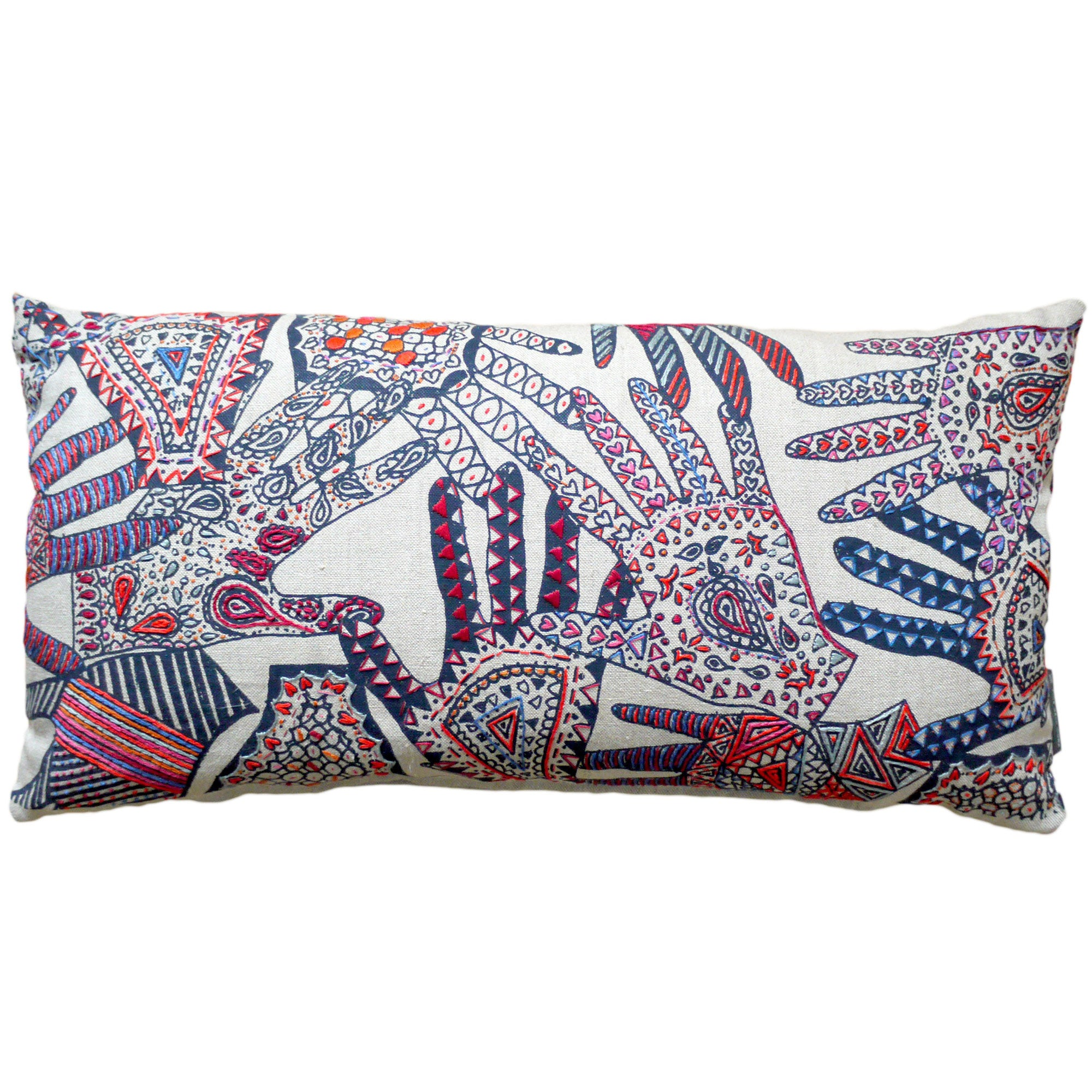 London College of Fashion Embroidered Hands Cushion Fine Cell Work