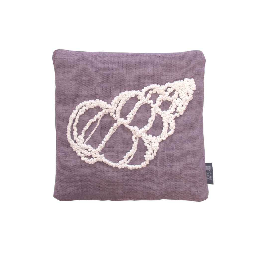 Melissa Wyndham Shell Cone Lavender Bag Purple Hand Embroidered Linen Fine Cell Work