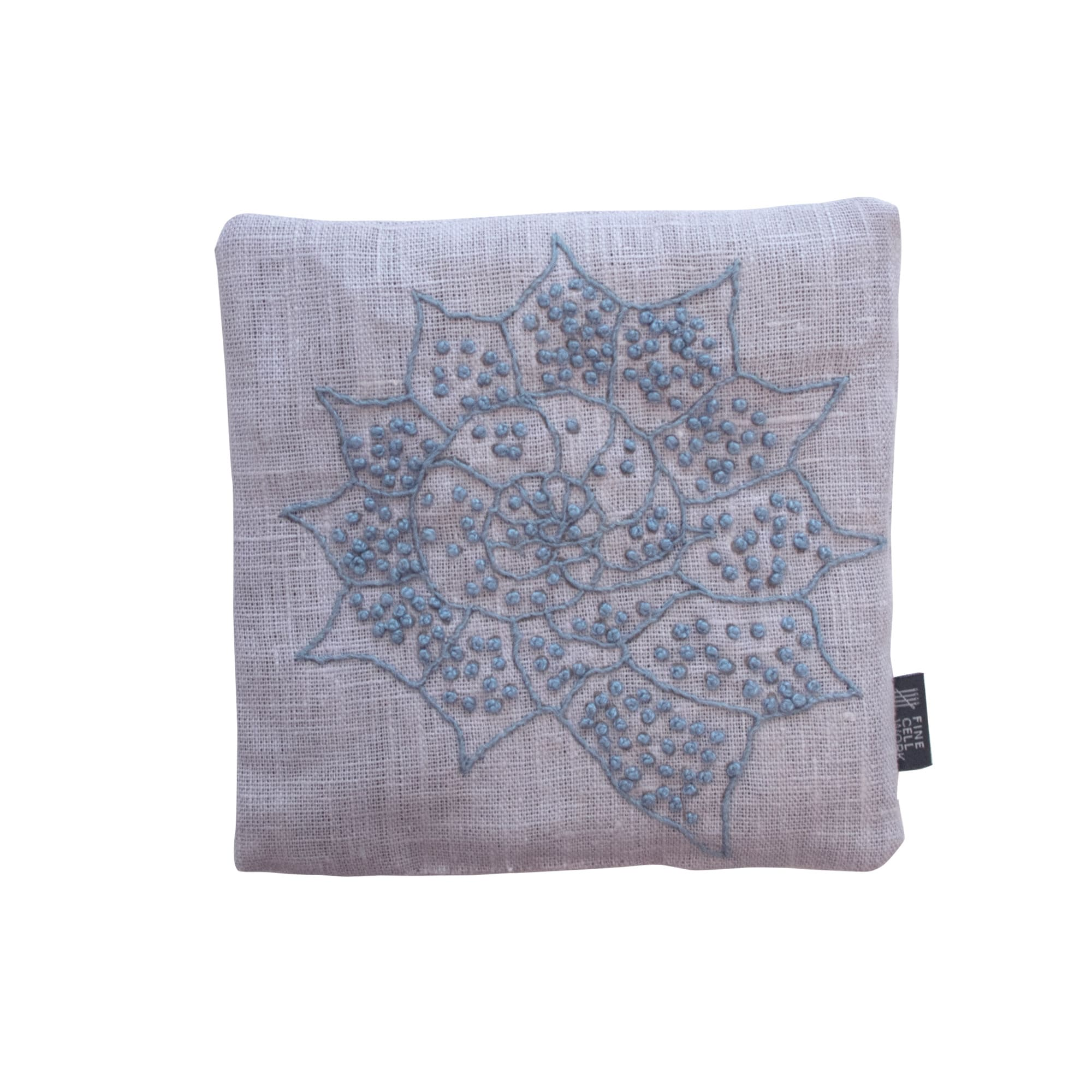 Melissa Wyndham Shell Star Lavender Bag Blue Hand Embroidered Linen Fine Cell Work
