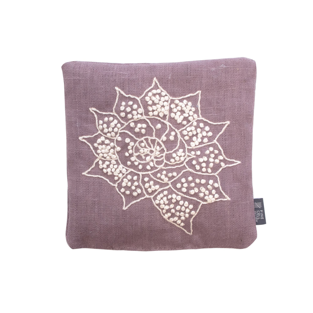 Melissa Wyndham Shell Star Lavender Bag Purple Hand Embroidered Linen Fine Cell Work