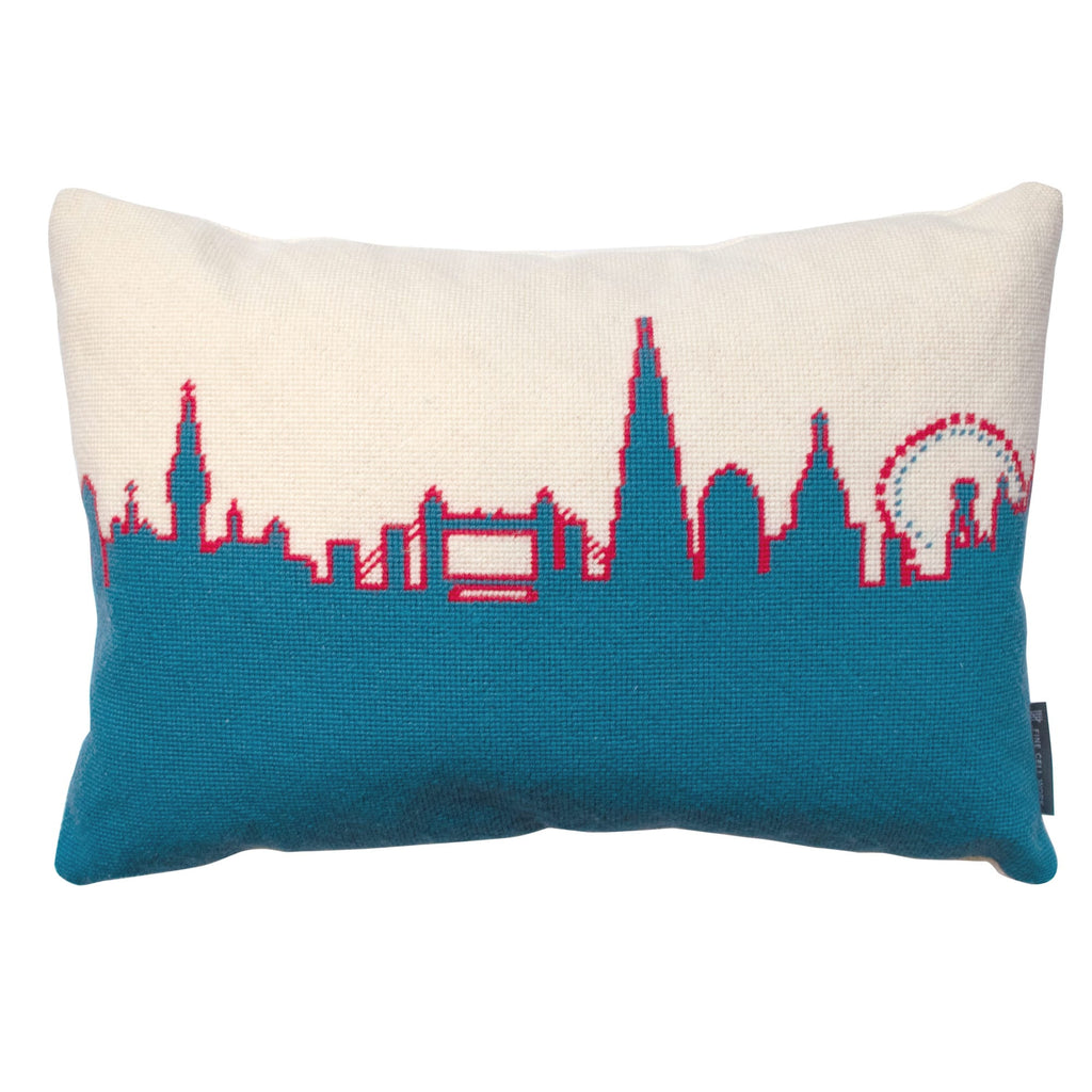London Skyline Cushion Red White Blue Hand Stitched Needlepoint Fine Cell Work Boxing Day Sale