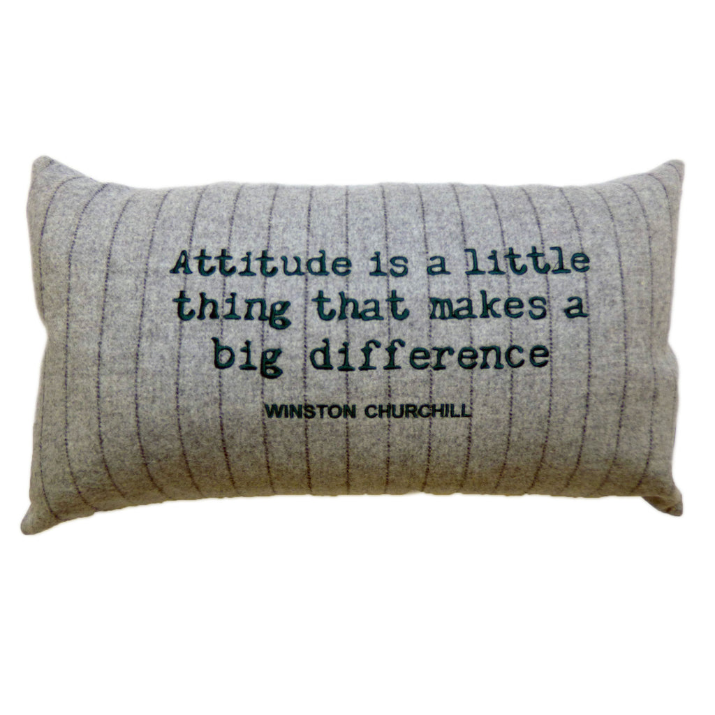 Green embroidered quote on 100% wool grey pinstripe rectangular cushion.