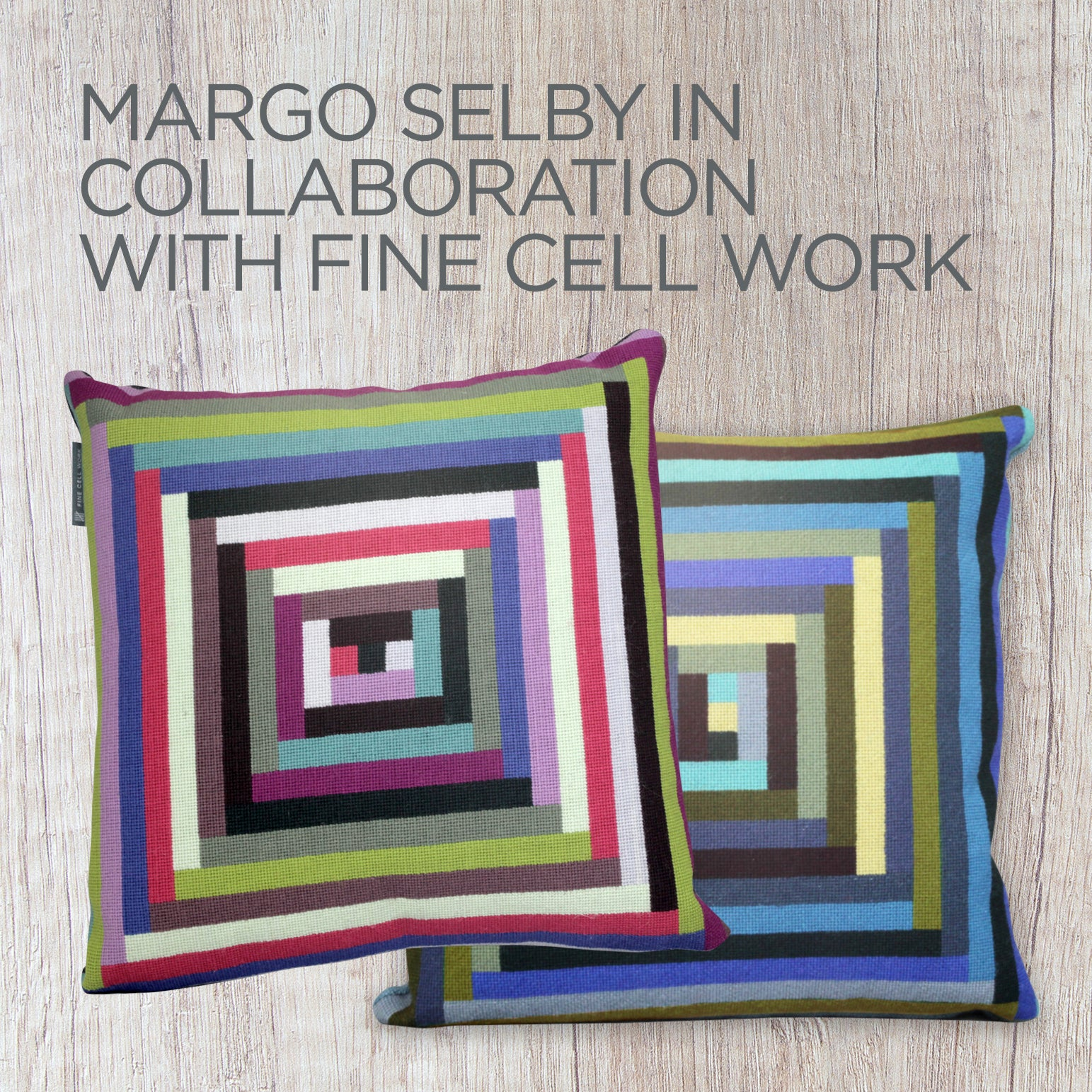 Margo Selby Maze Needlepoint Cushion Bright Fine Cell Work