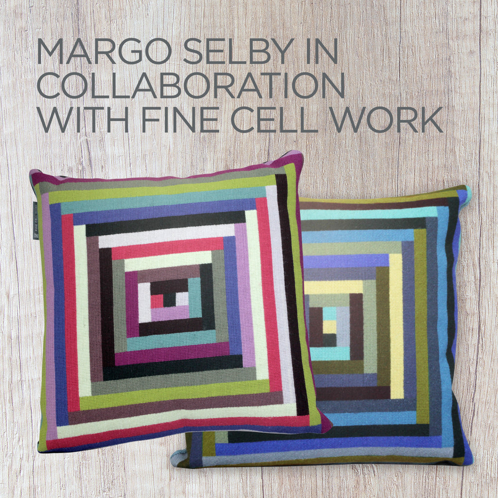 Margo Selby Maze Cushion Blue