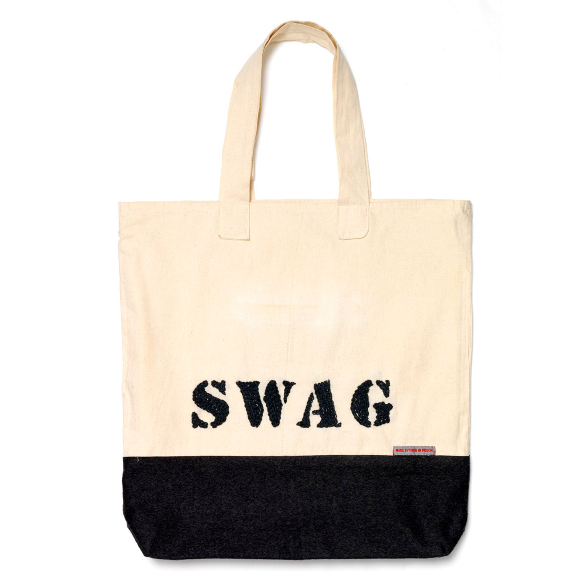 Swag Bag Hand Embroidered Black Fine Cell Work