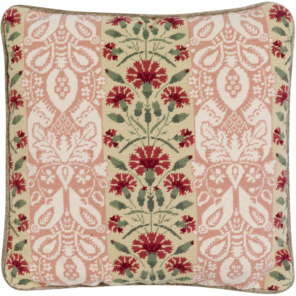 Carnation Needlepoint Floral Cushion Fine Cell Work