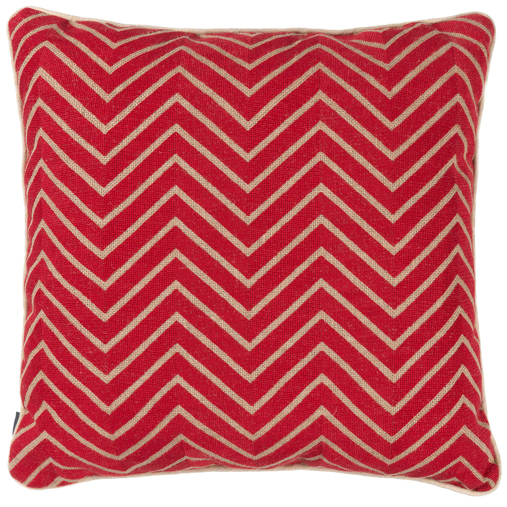 Red Chevrons Hessian Needlepoint Cushion Fine Cell Work