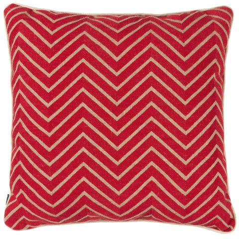 Chevrons - Red on Hessian Cushion*
