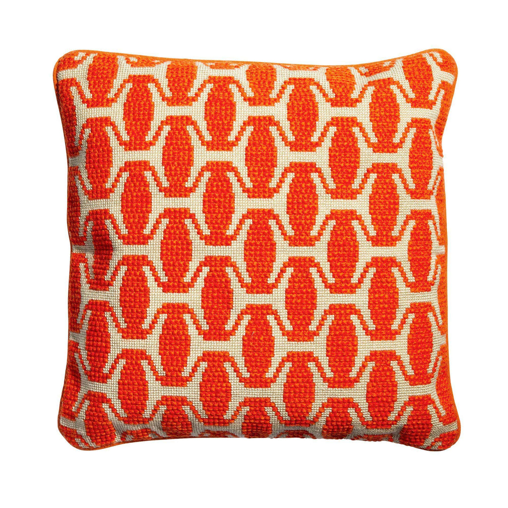 Ethiopian Hat Needlepoint Cushion Orange Fine Cell Work
