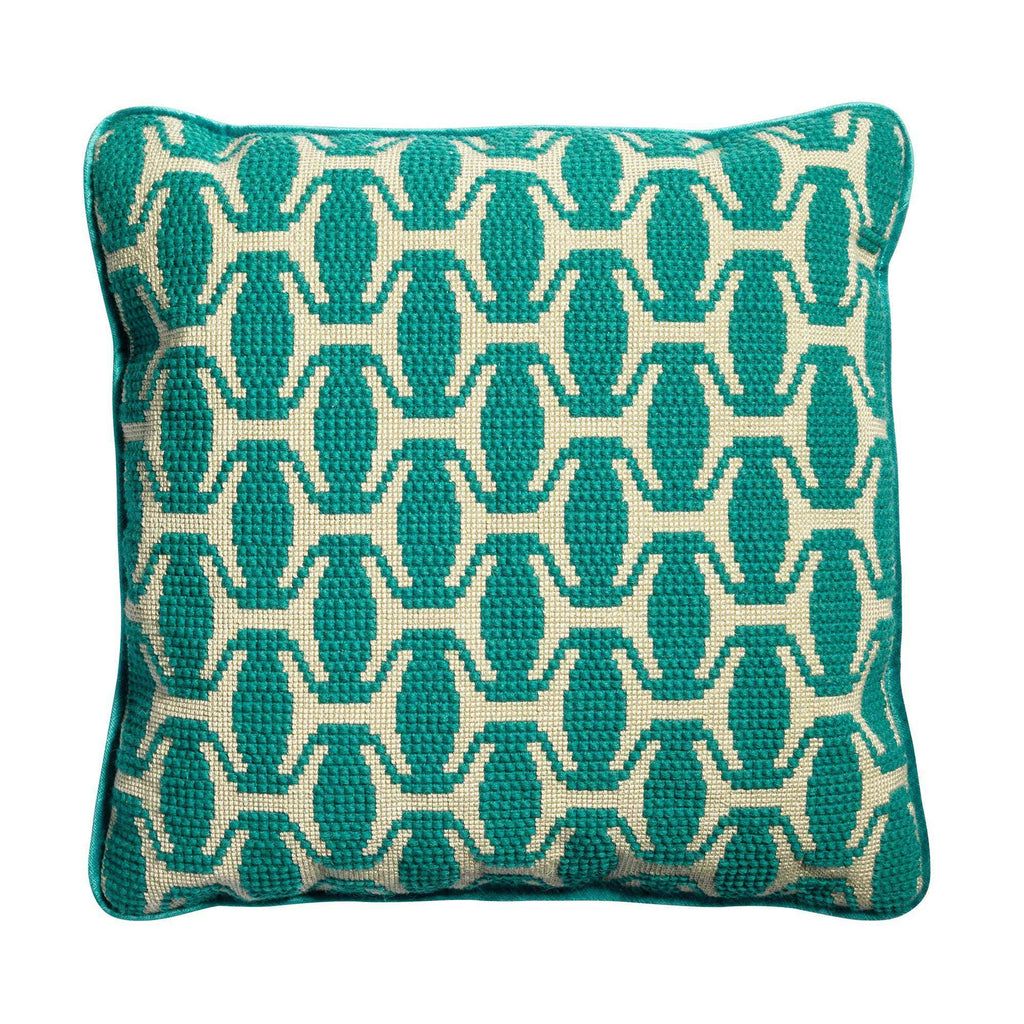 Ethiopian Hat Needlepoint Cushion Teal Blue Green Fine Cell Work