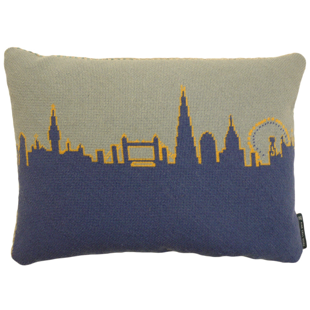 London Skyline Handmade Needlepoint Cushion Yellow and Blue Fine Cell Work