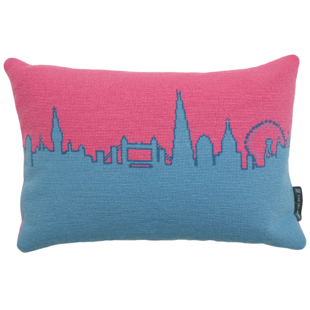 London Skyline Pink and Blue Needlepoint Cushion Fine Cell Work