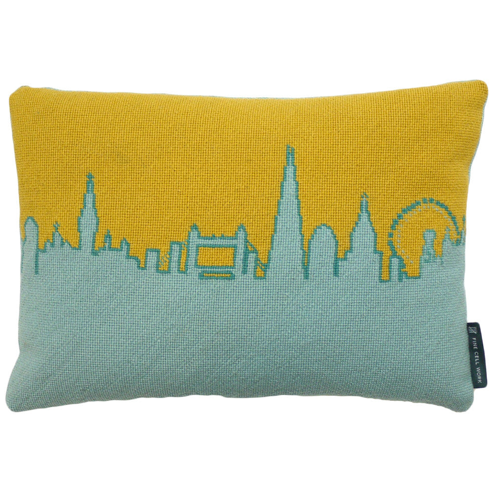 London Skyline Needlepoint Cushion Yellow Fine Cell Work