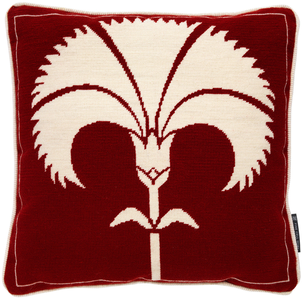 Biomorphic Carnation white on red cushion