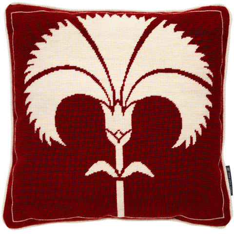 Biomorphic Carnation Cushion White on Red