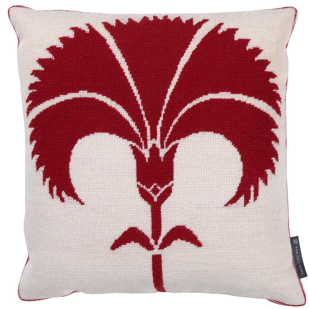 Biomorphic Carnation Needlepoint Cushion Red on White Fine Cell Work