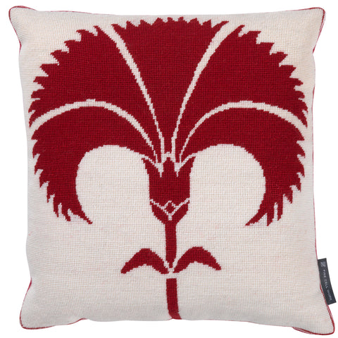 Biomorphic Carnation Cushion Red on White*