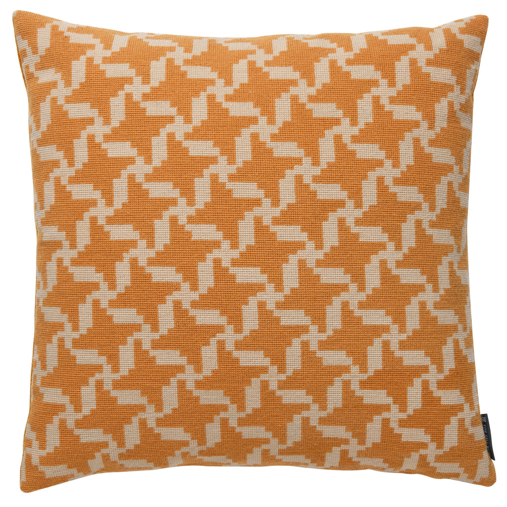 Melissa Wyndham Geometric Needlepoint Cushion Yellow Fine Cell Work