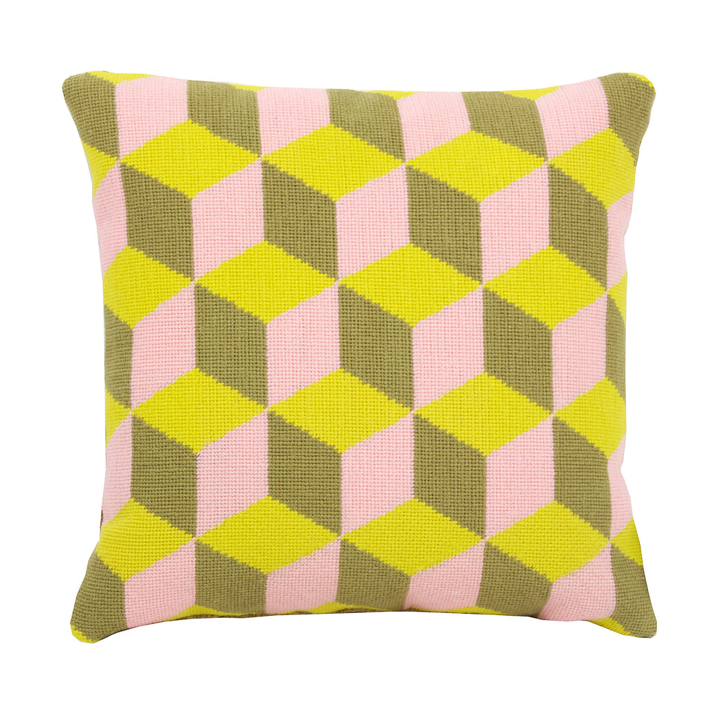 Pentreath & Hall Falling Cubes cushion - Pink and Yellow