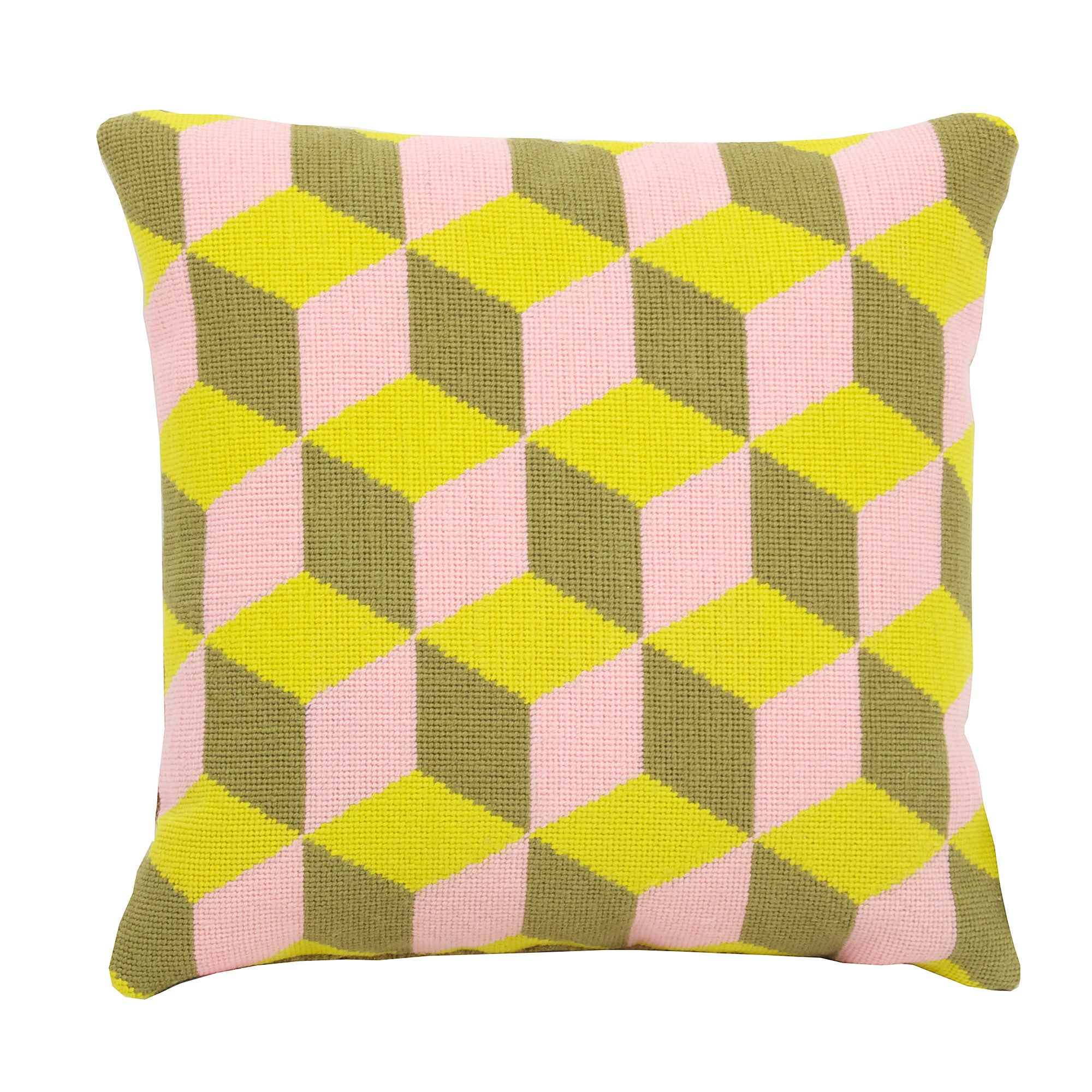 Pentreath & Hall for Fine Cell Work Falling Cubes Needlepoint Cushion Pink and Yellow