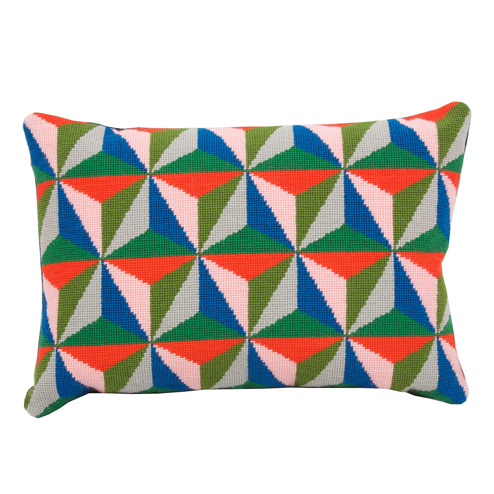 Pentreath & Hall Tetrahedron cushion - Blue, Red and Green