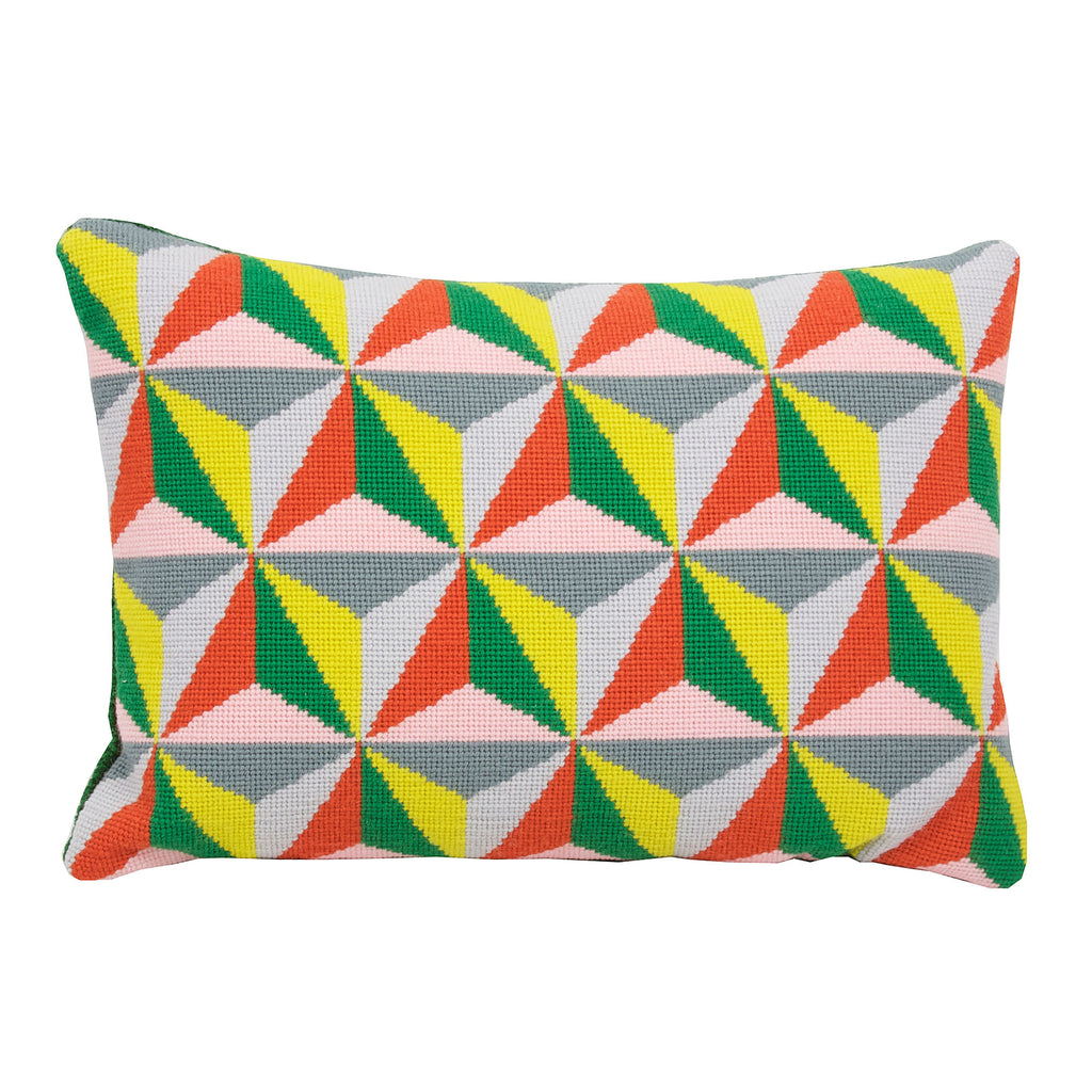 Pentreath & Hall for Fine Cell Work Tetrahedron Cushion Orange Green Pink Needlepoint