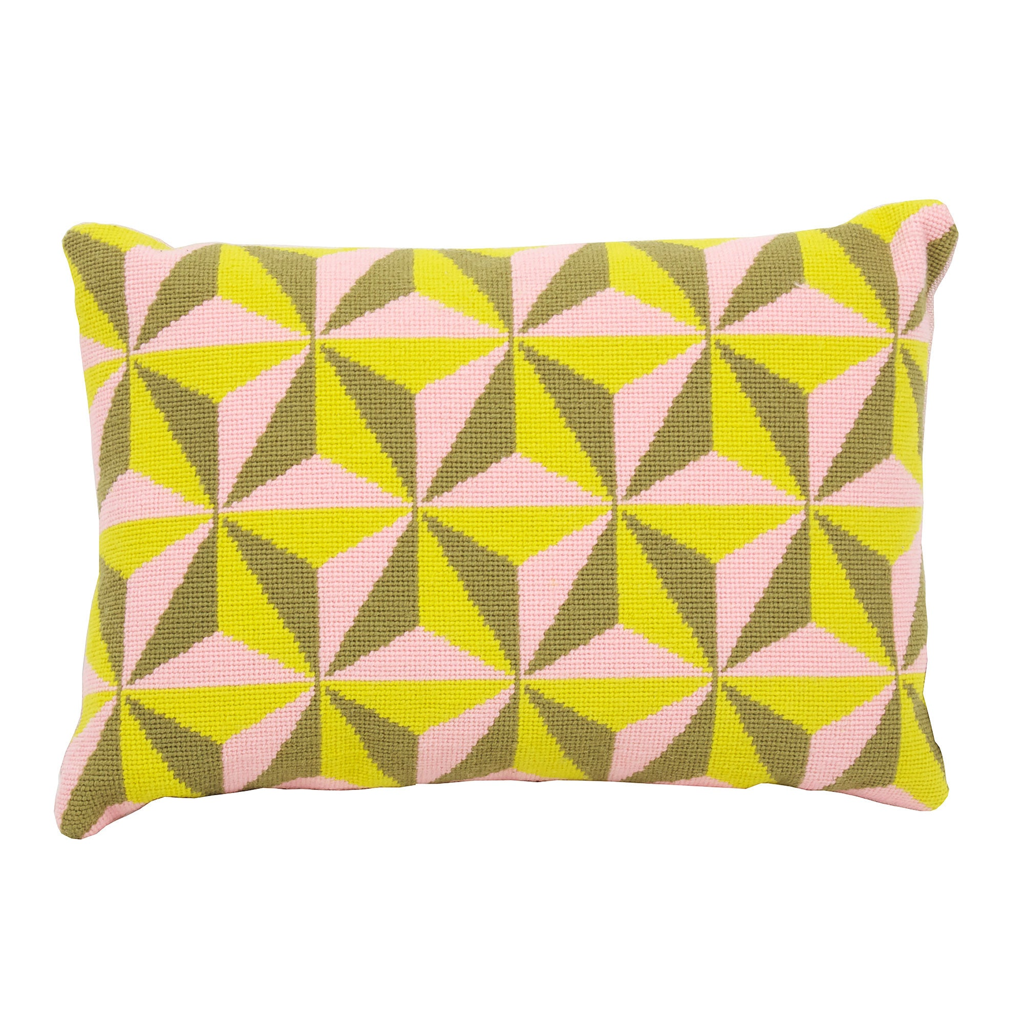 Pentreath & Hall for Fine Cell Work Tetrahedron Cushion Pink and Yellow Needlepoint