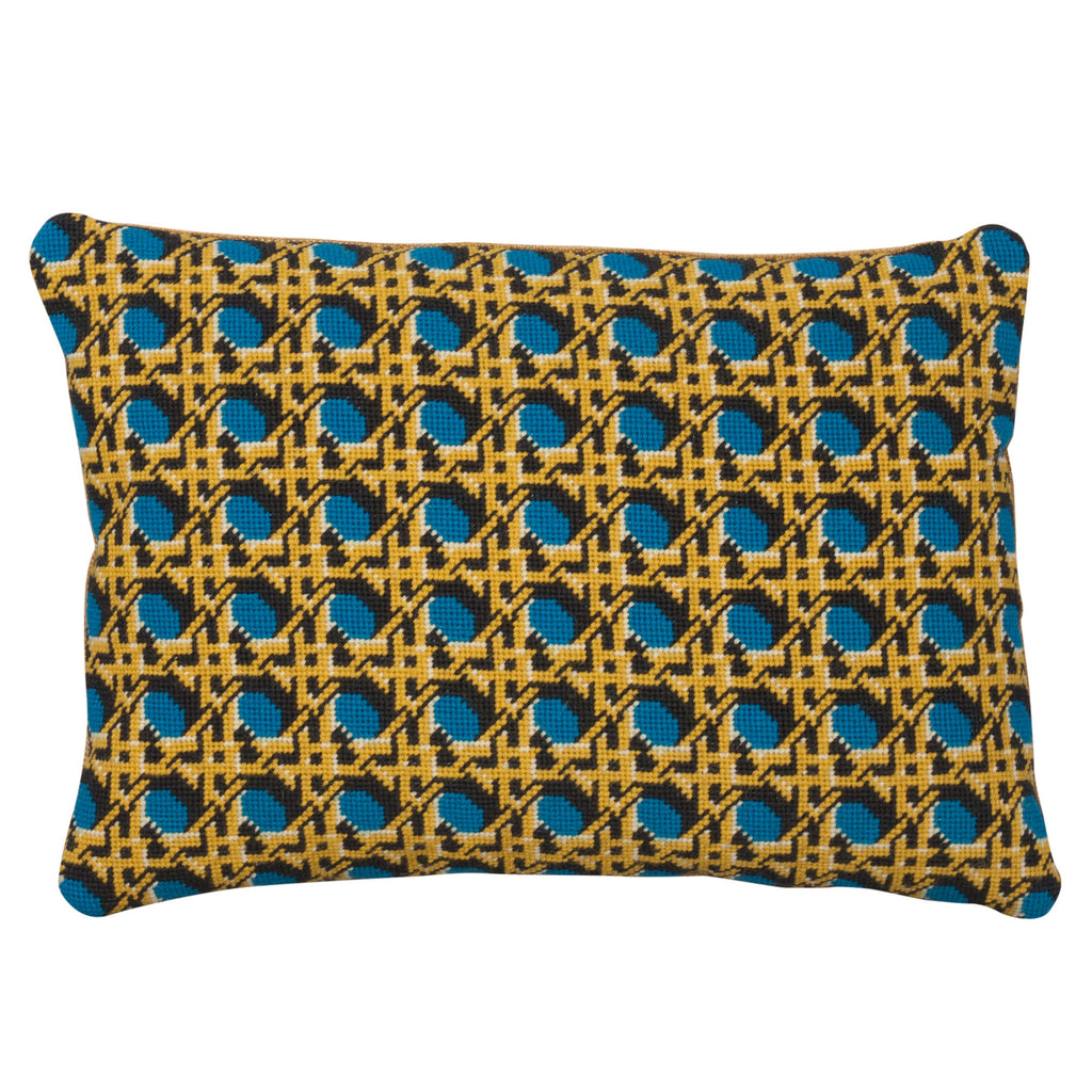 Pentreath & Hall Regency Caning Rectangle Needlepoint Cushion Teal Fine Cell Work