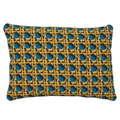 Pentreath & Hall Regency Caning Rectangle Cushion Teal