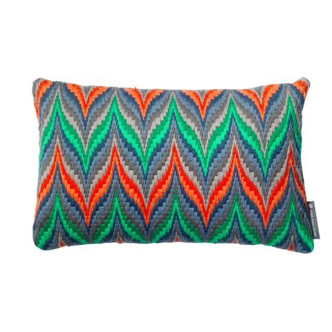Bargello Flame Needlepoint Cushion Emerald and Orange