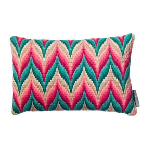Bargello Flame Needlepoint Cushion Aquamarine and Rose