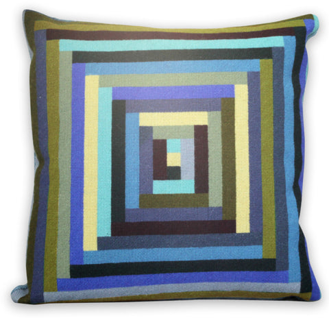 Margo Selby Maze Cushion in Blue