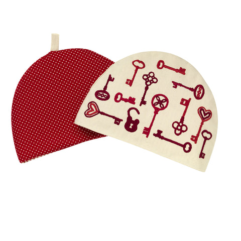 Keys Embroidered Tea Cosy Red Cream Cotton Fine Cell Work