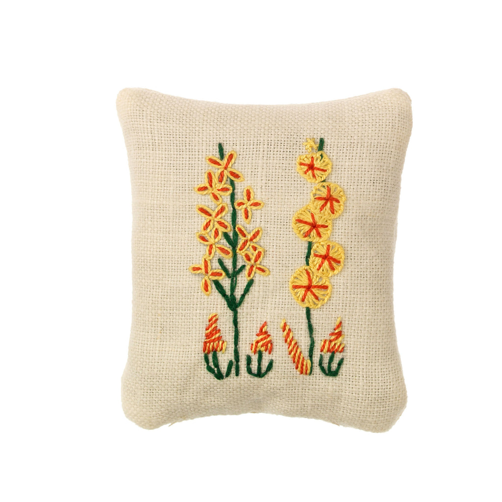 small yellow stitched hollyhock flowers on cream linen lavender filled pouch