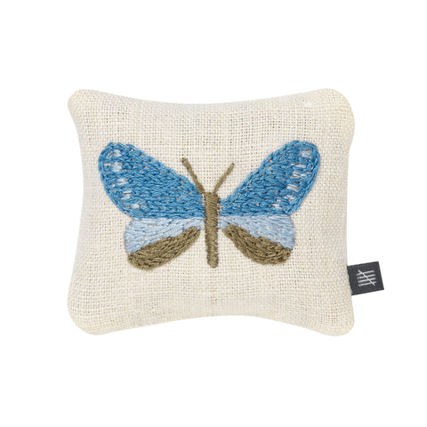 Lavender Bag Butterflies Embroidery Blue and Cream