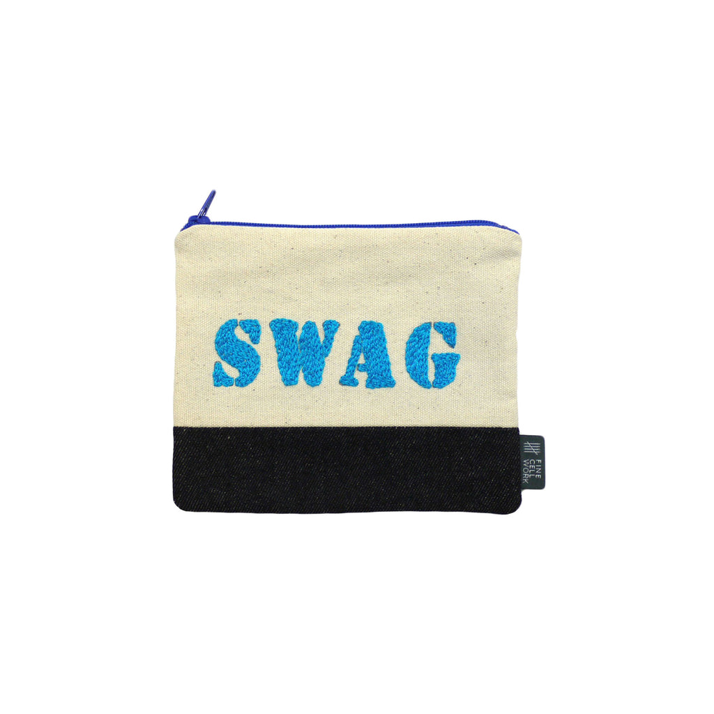 Swag Embroidered Purse Blue