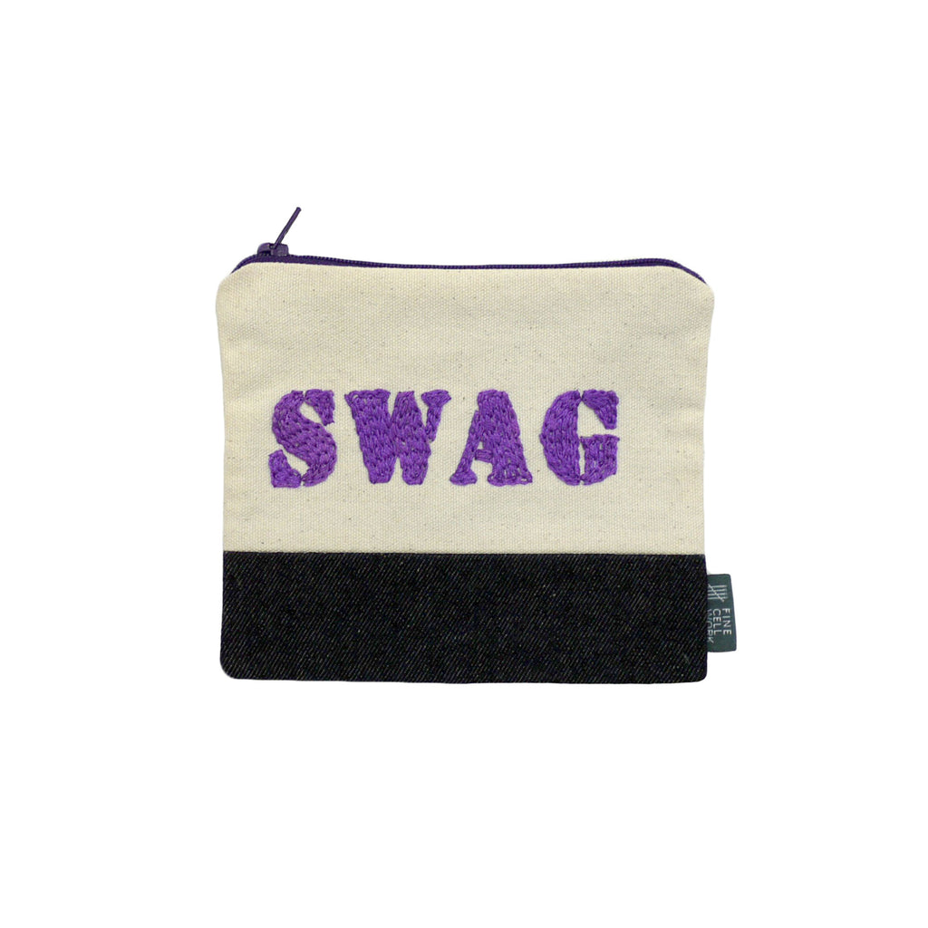 Swag Embroidered Purse Purple
