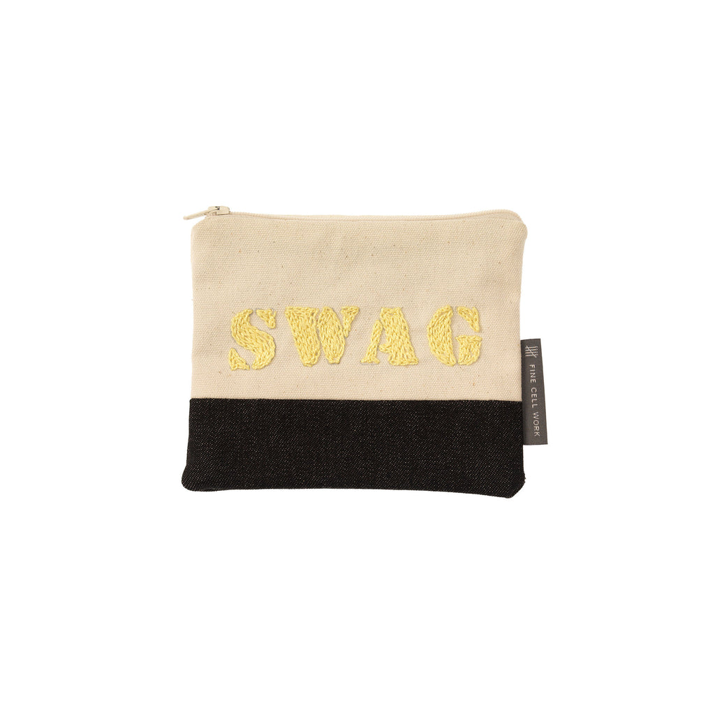Swag Embroidered Purse Yellow