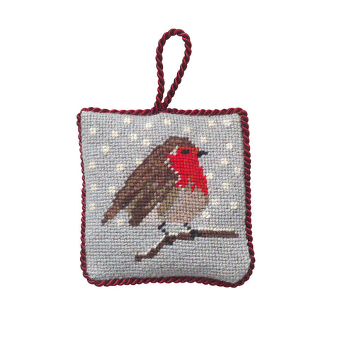 Handmade Needlepoint Robin Christmas Decoration