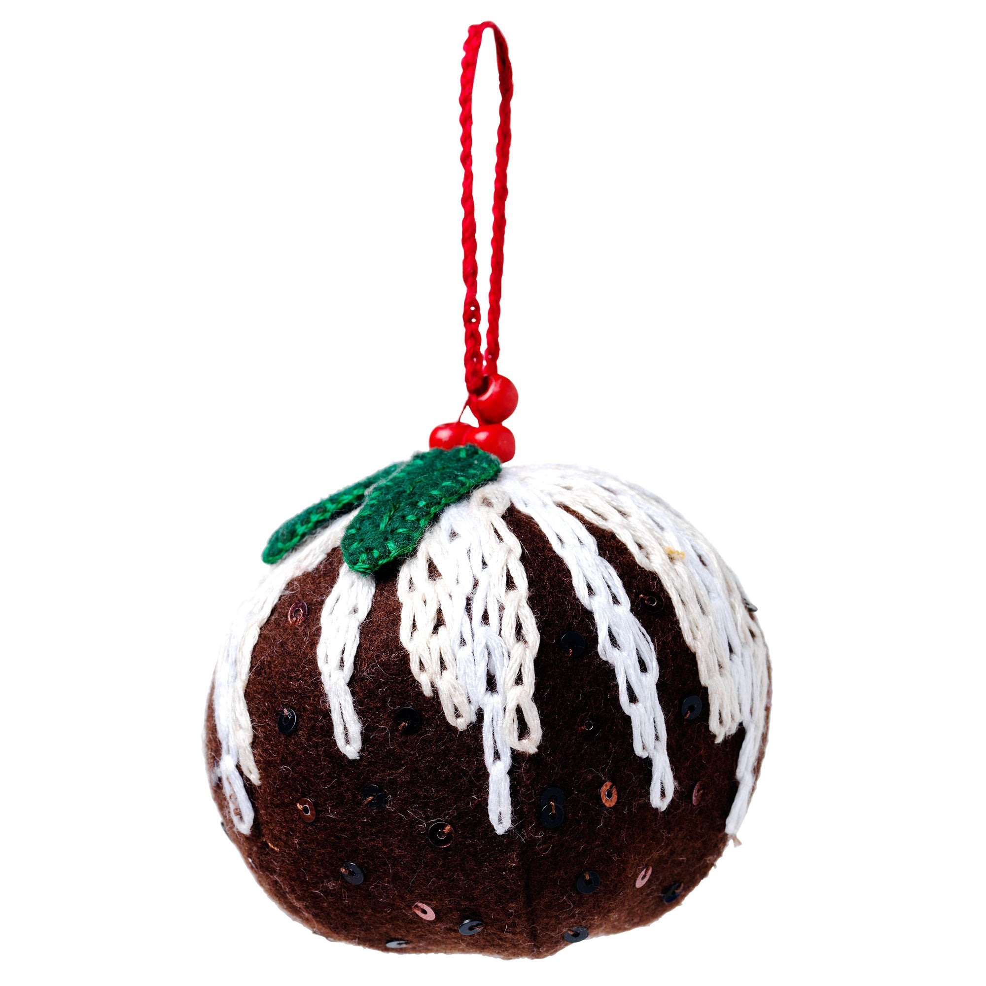 Handmade Embroidered Christmas Pudding Christmas Tree Decoration