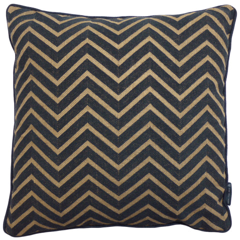 Chevrons Needlepoint Cushion Charcoal