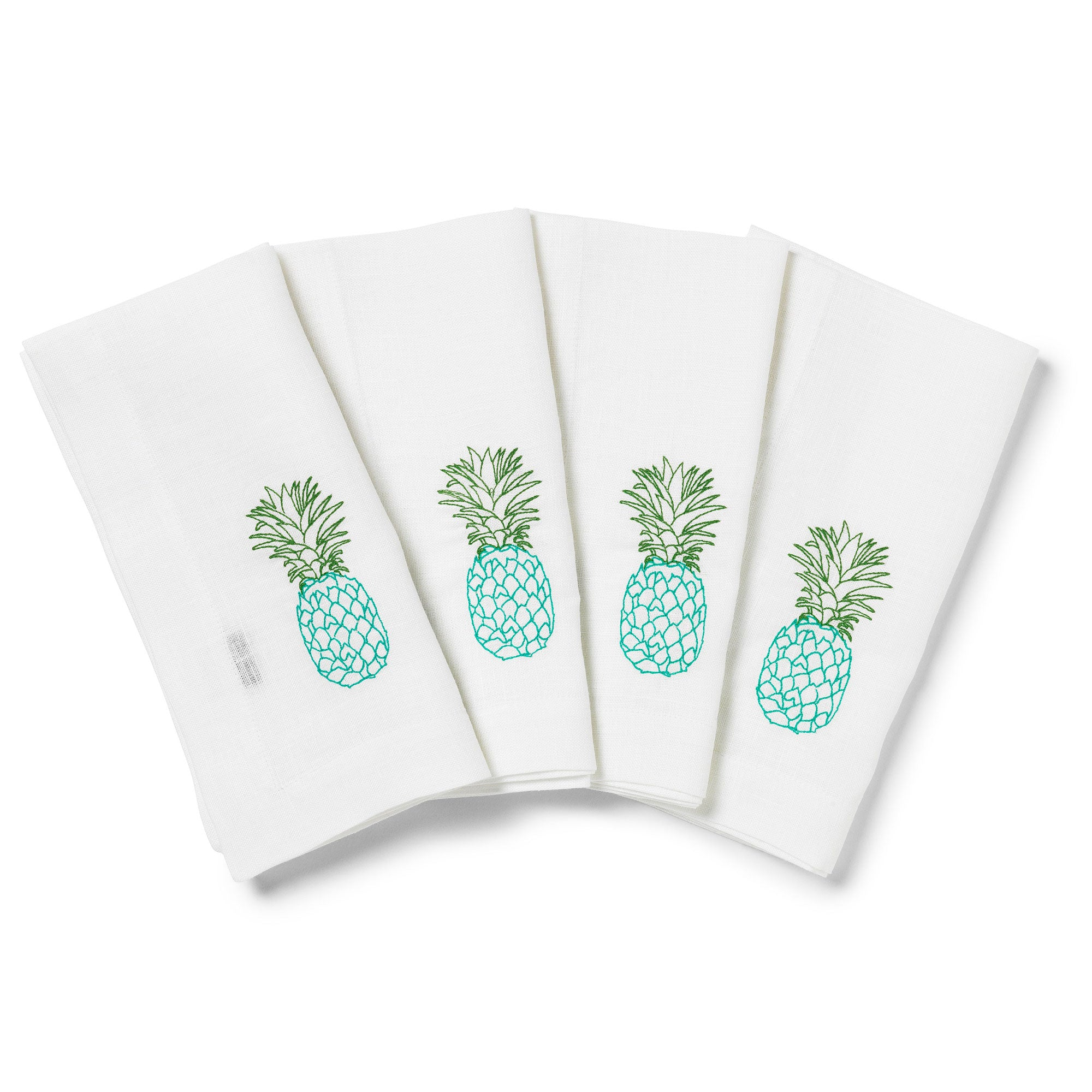 Pineapple Embroidered Table Napkins in Linen Blue and Green Box of 4 Melissa Wyndham for Fine Cell Work