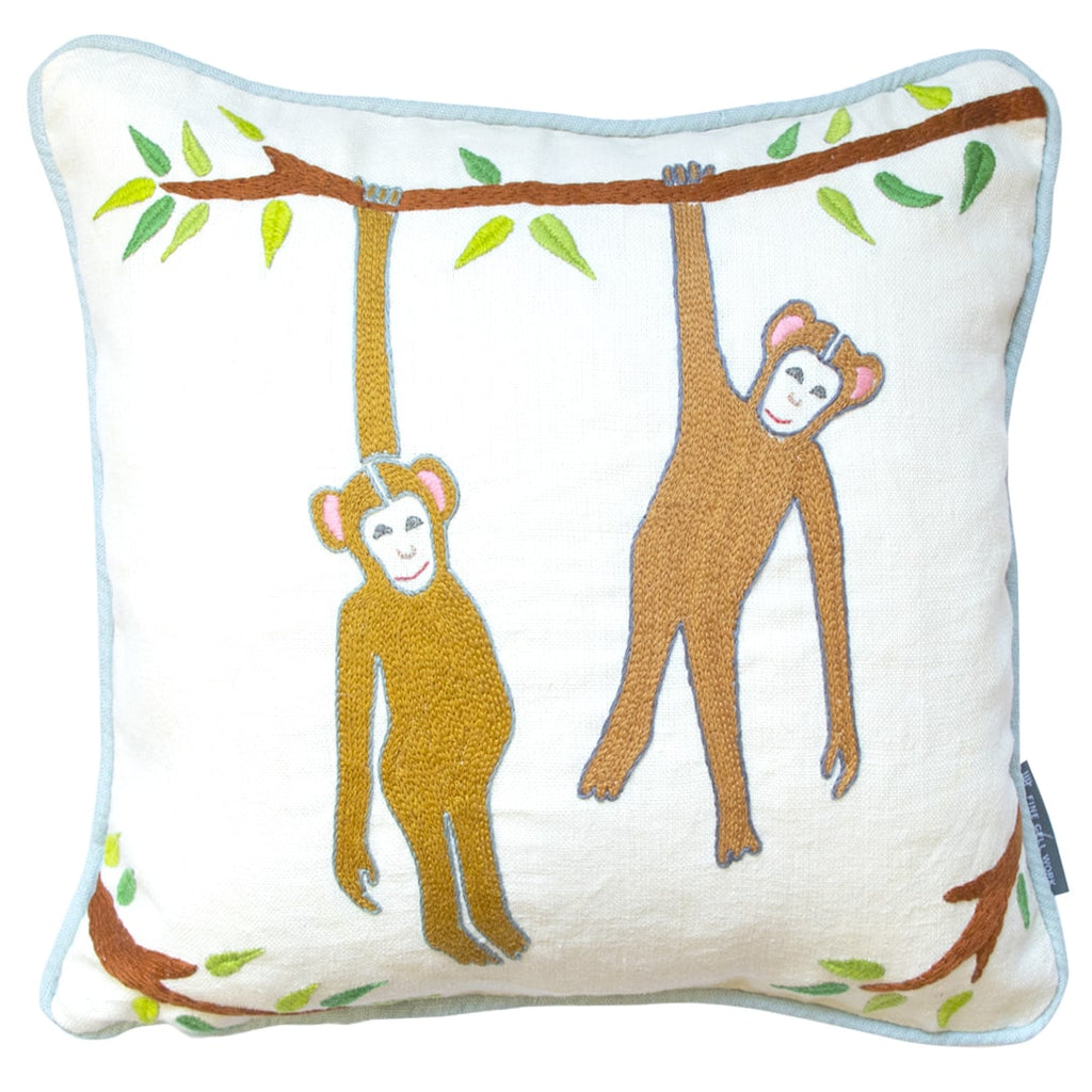 Noah's Ark Naughty Monkeys Cushion Hand Embroidered Fine Cell Work