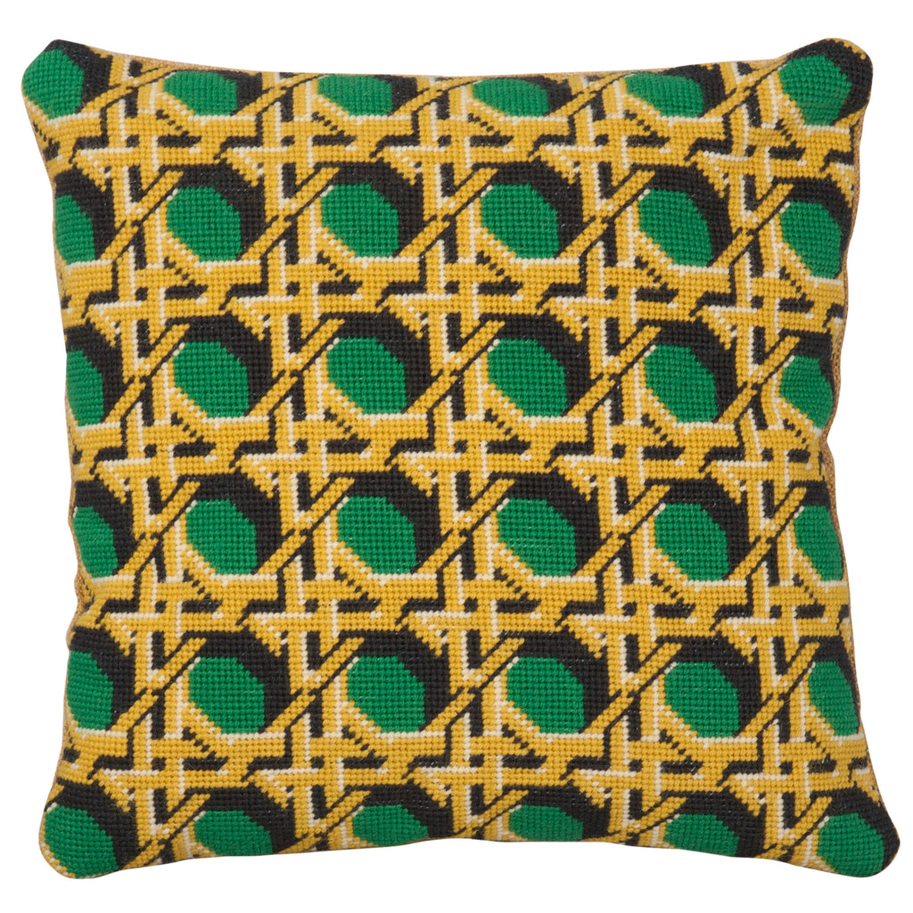 Pentreath and Hall for Fine Cell Work Regency Caning Green Square needlepoint cushion