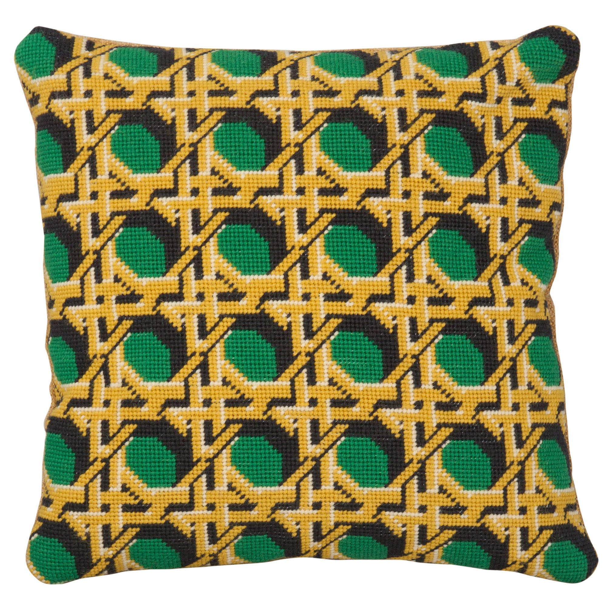 Pentreath & Hall Regency Caning Square Needlepoint Cushion Green Fine Cell Work