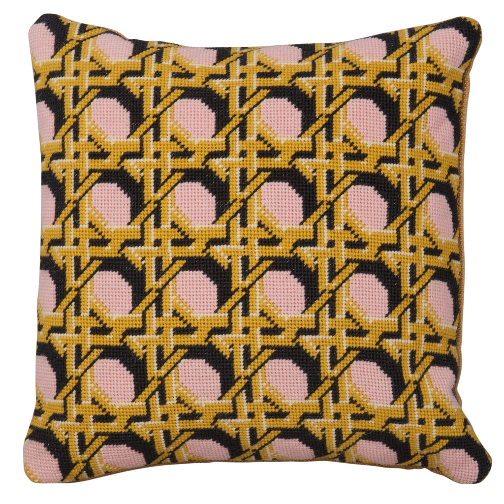 Pentreath and Hall for Fine Cell Work Regency Caning Pink Square needlepoint cushion