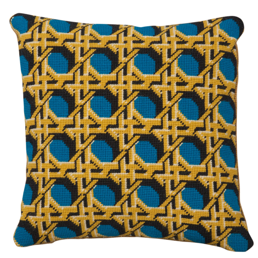 Pentreath and Hall for Fine Cell Work Regency Caning Teal Square needlepoint cushion